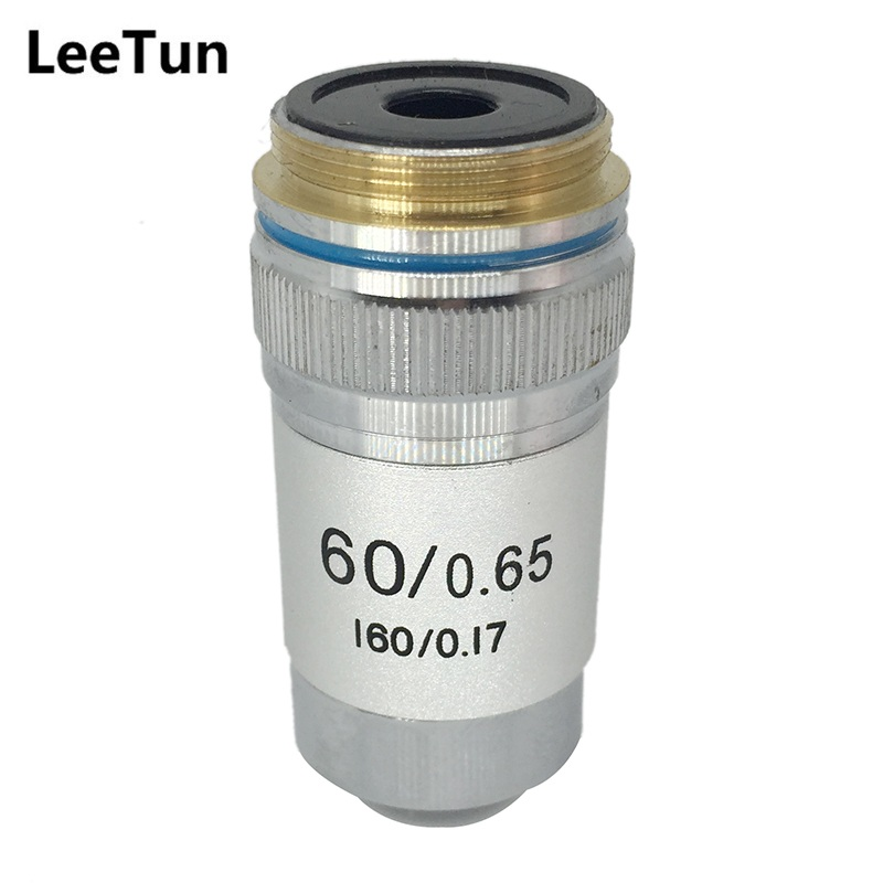 60X Achromatic DIN Objective for Biological Microscope Bio-microscope Bottom Lens 160/0.17 60X/0.65 Conjugate Distance 195 mm new n male plug connector switch n female jack convertor rg316 wholesale fast ship 15cm 6 adapter
