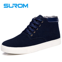 SUROM Men s Boots Winter Leather Casual Shoes 2017 New Warm Male Footwear Unisex Ankle Snow