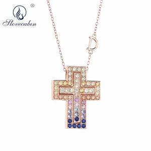 Image 1 - Женская Длинная цепочка из розового золота с кристаллом D Leter, ожерелье с подвеской из фианита ААА, роскошное ювелирное изделие из стерлингового серебра 925 пробы
