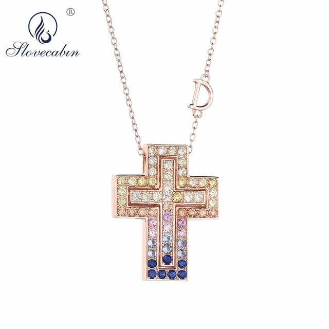 Slovecabin Pink Gold Long Chain D Leter Cross Colorful AAA Zircon Pendant Necklace 925 Sterling Silver JapanWomen Luxury Jewelry