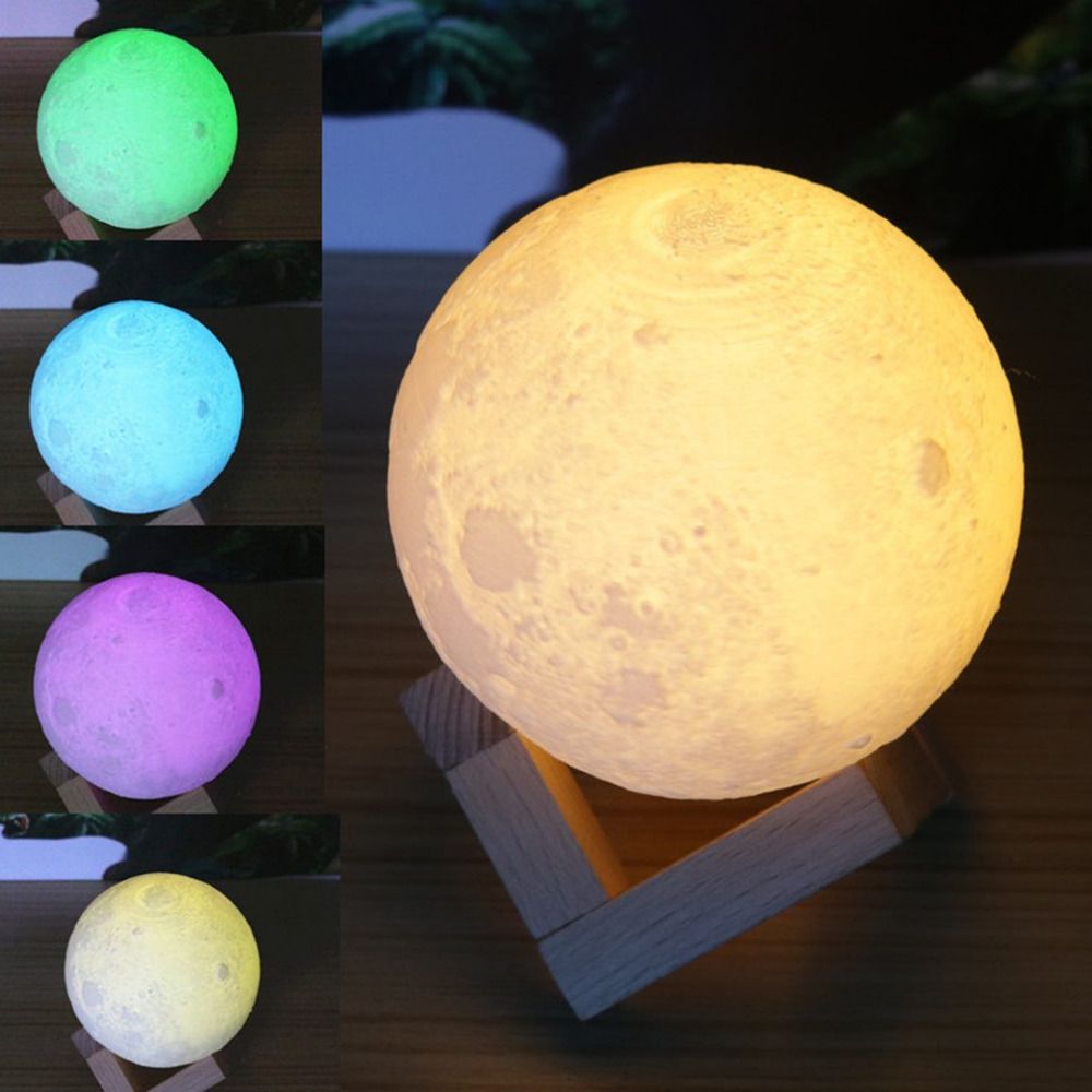 Colorful 3D Print Moon Lamp Color Change Bedroom Bedside Bookcase Home Decor Gift Remote Control Changeable Night Lights