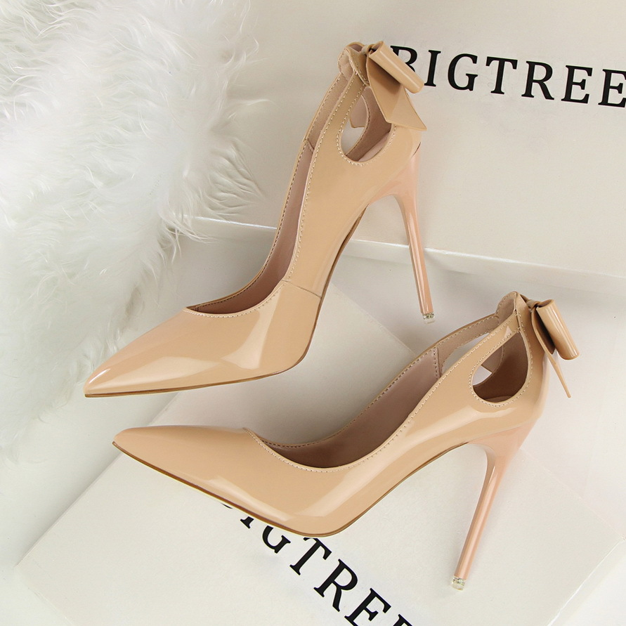 Spring Autumn Women Shoes Pointed Toe Pumps 10CM Thin Heels Wedding Dress Rear Hollow Bow Tie PU Leather High Heels Boat Shoes
