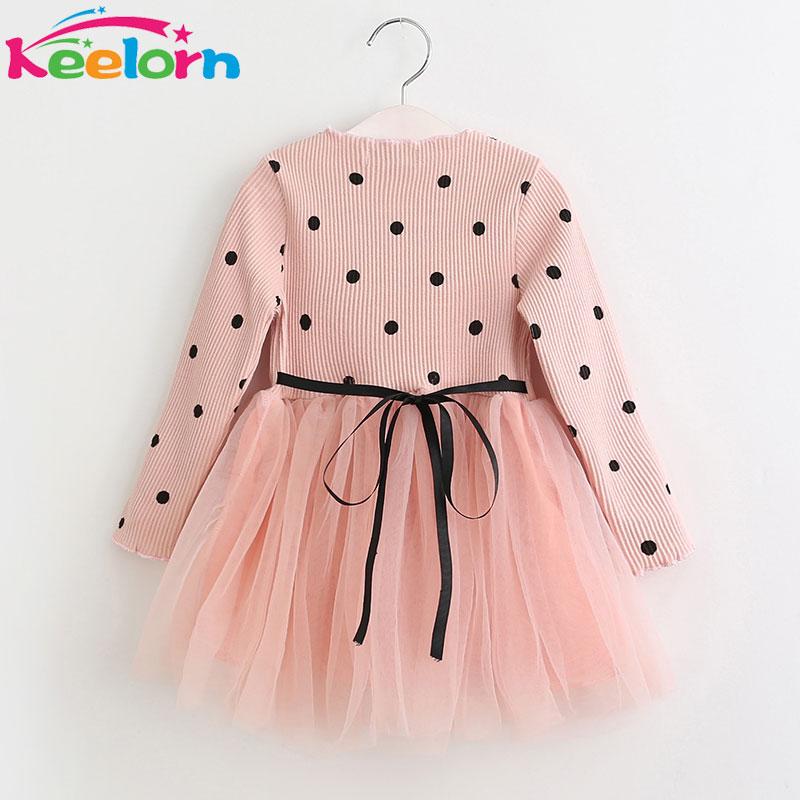 Keelorn Girls Dress 2017 New Autumn Mesh Girls Clothes Long-sleeve Dot Mesh Design Princess Dress Children Winter Clothing keelorn girls dress 2017 autumn winter