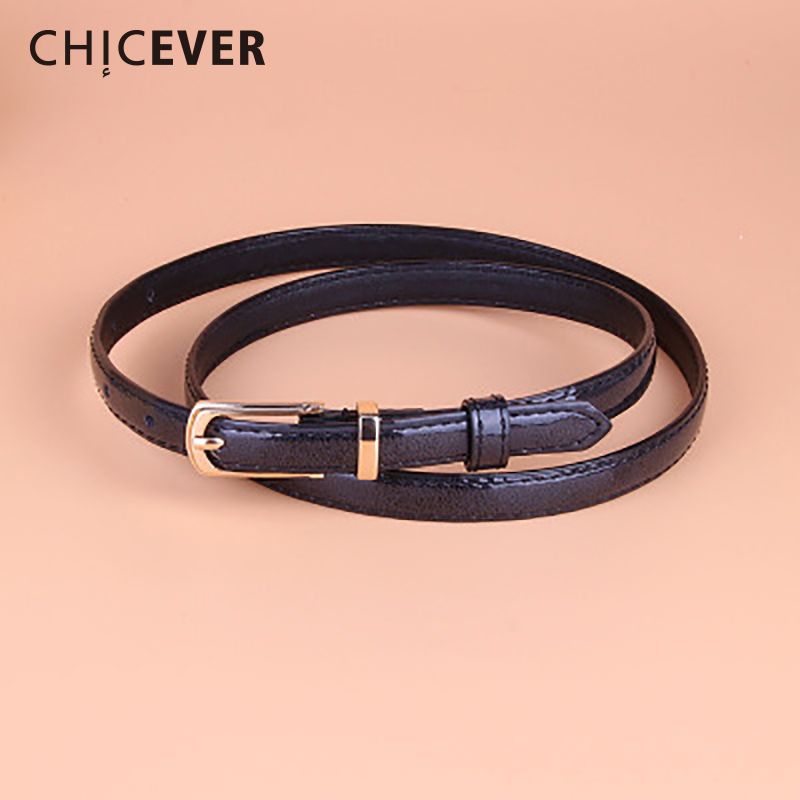 CHICEVER 2018 Fashion PU Leather Female Strap Belt For Women Candy Color Metal Buckle Thin Casual Belt Women's belts Casual|belt casual|belts for womenfashion belts for women - AliExpress