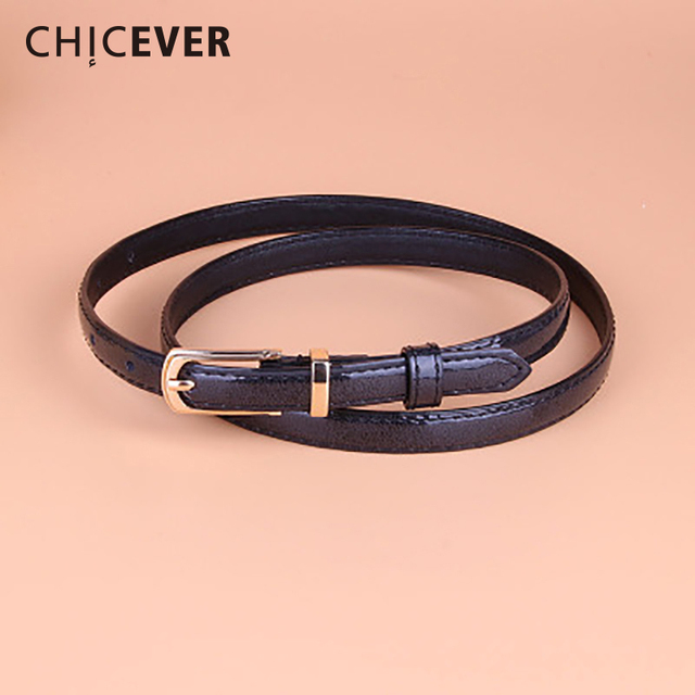 CHICEVER 2018 Fashion PU Leather Female Strap Belt For Women Candy Color Metal Buckle Thin Casual Belt Women's belts Casual