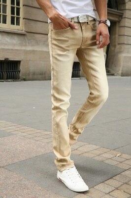 Мужские обтягивающие джинсовые брюки, небесно-голубые/белые однотонные зауженные джинсы, брюки стрейч, повседневный стиль, на весну-лето - Цвет: Хаки