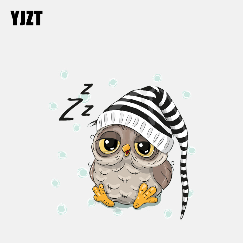 YJZT  13.1CM*13.3CM Cartoon Owl With Hood Sleeping PVC Window Decoration Car Sticker 11-01260