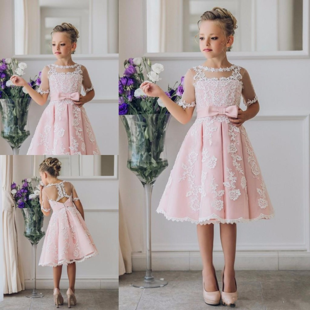 Pretty Pink Flower Girl Dresses White Lace Button Back Knee-length Girls Pageant Dresses Kids Birthday Party Gown Custom Size