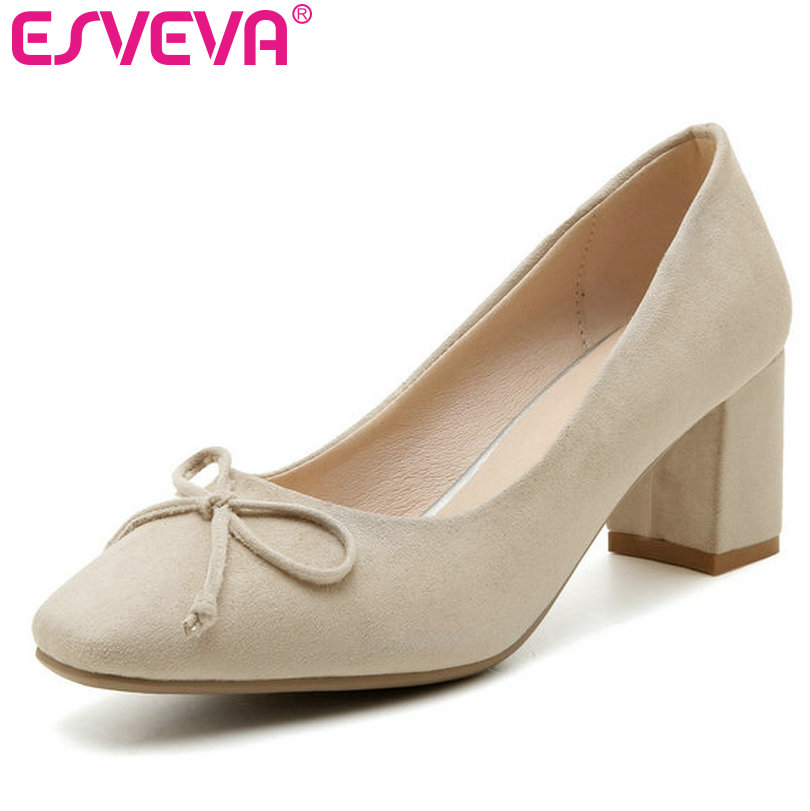 ESVEVA 2017 Spring Square Toe OL Shoes Flock Pumps Charming Women Pumps Princess Style Bowtie Wedding