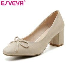 ESVEVA 2017 Spring Square Toe OL Shoes Flock Pumps  Charming Women Pumps Princess Style Bowtie Wedding Women Shoes Size 34-43