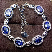 Elegant fashion round chess natural blue tanzanite Bracelet Natural gemstone bracelet S925 silver woman girl party gift jewelry