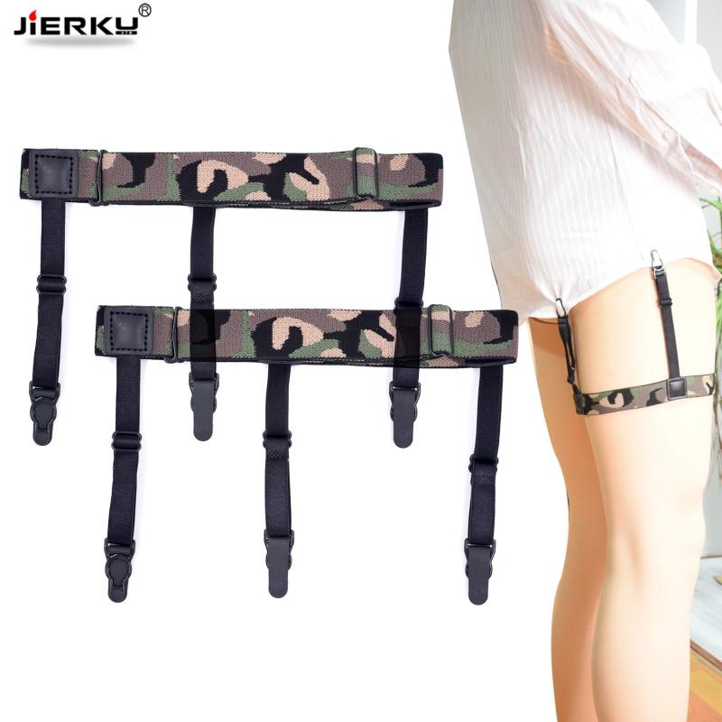 JIERKU Shirt Garters Man's Shirt Stays Holder Leg Suspenders Shirt Braces Gourd Buckle Shirt Garters 1pair GW08232