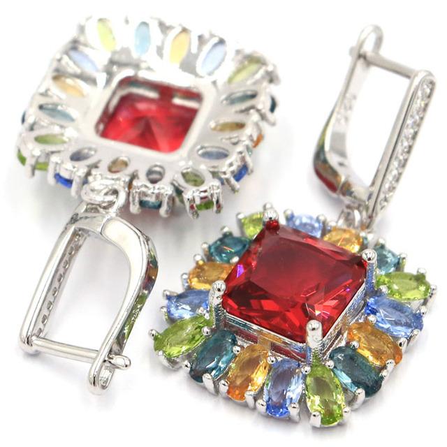 Elegant Square Rhodolite Garnet Peridot Tanzanite Citrine Cubic Zirconia Gift For Woman's 925 Silver Earrings 41x19mm