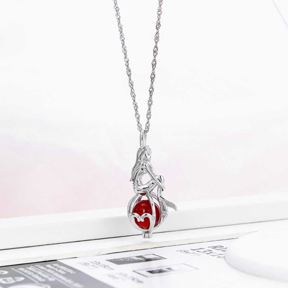 Mermaid Sterling Silver Pearl Cage Pendant Woman Oyster Pearl Necklace Pendant Cage Jewelry Making Accessoy Without Bead