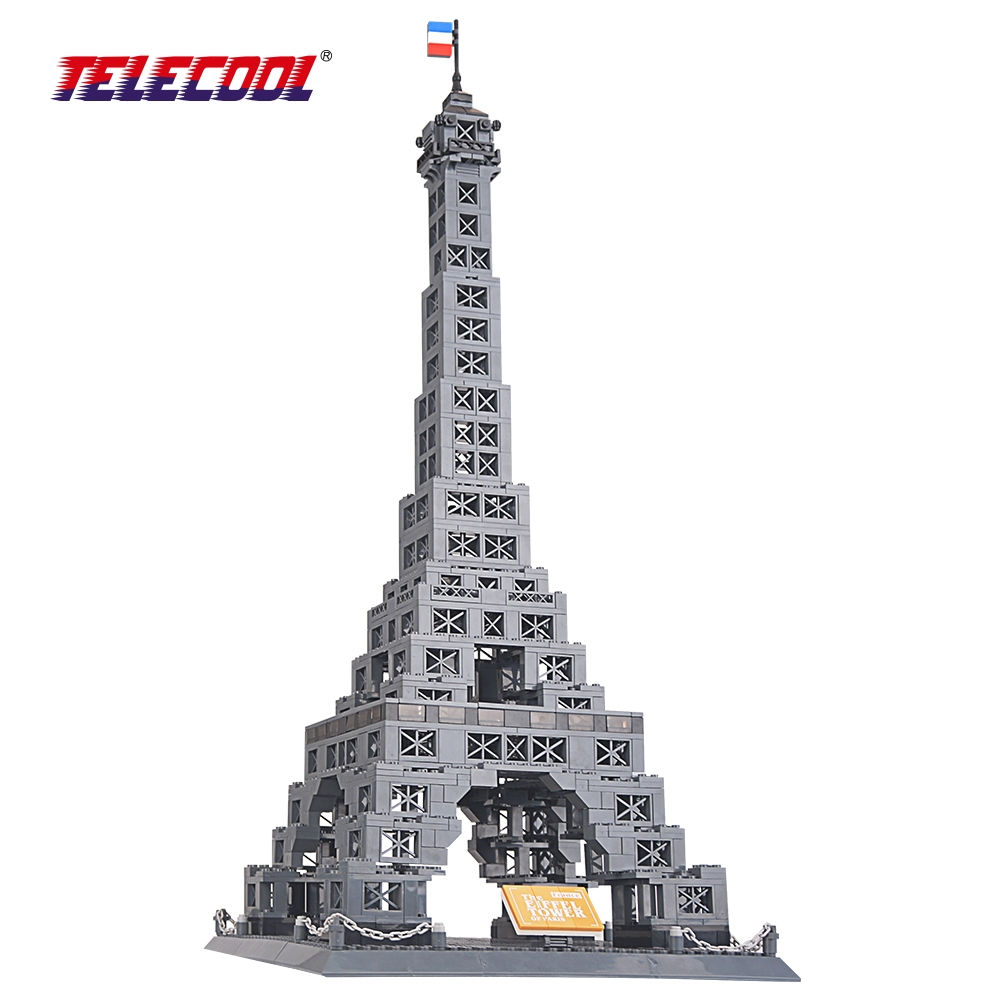 TELECOOL New Famous Architecture series the Eiffel Tower 3D Model Building Blocks Classic Toys 978 Pieces Compatible with Lepin series s 3d puzzle paper diy papercraft double decker bus eiffel tower titanic tower bridge empire state building