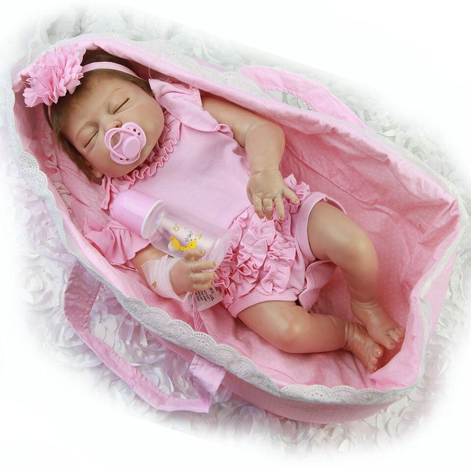 57 cm muñecas de bebé Reborn realista durmiendo en cesta Rosa 23 ''bebés muñeca de vinilo de cuerpo completo Bebe juguete los niños Playmantes-in Muñecas from Juguetes y pasatiempos    3