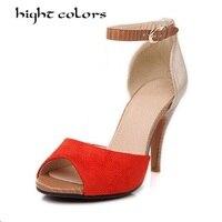 Kích thước 33-43 Cộng Với Nhỏ Kích Thước Phụ Nữ Dép 2016 Mùa Hè Mắt Cá Chân Strapy Mở Toe Lady Cao Gót Gladiator Sandals Rome Đảng giày