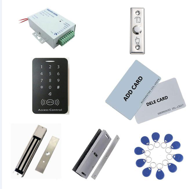 standalone access controller kit ,power+280kg magnetic lock+280kg U-shape + exit button+2 manage card,10 keyfob ID tags,sn:set-7 admin manage