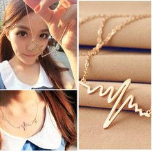 Collier Collares Hot Simple Wave Heart Necklace Chic Ecg Heartbeat Colour Pendant Charm For Lightning Chocker For Women Jewelry татуировка переводная heartbeat