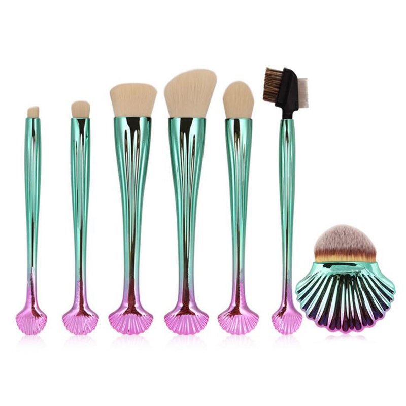 7Pcs Shell Mermaid Makeup Brushes Set Face Foundation Powder Blush Contour Blending Eye Shadow Eyeliner Brush Kit Cosmetic Tool new design stamp seal shape face makeup brush foundation powder blush contour brush cosmetic facial brush cosmetic makeup tool
