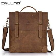 Sxllns Genuine Leather Men Shoulder Bags Briefcases Casual Handbag Tote Bag Brand Men's Messenger Bag Vintage Bag Free Shipping