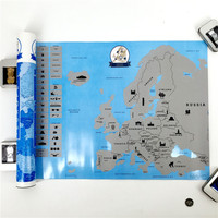 New Arrival Creative Scratch Europe Map DIY Art Paper Travel Vacation Personal Mark Wall Decoration Gift