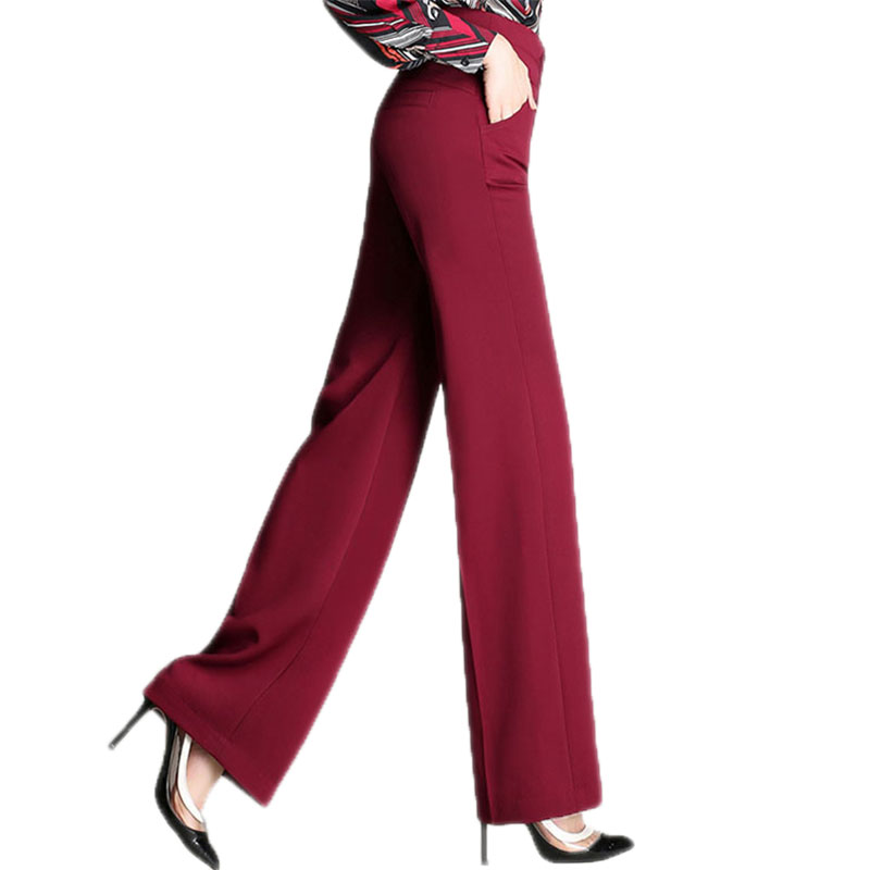 2018 Women New Autumn Fashion Casual   Wide     Leg     Pants   Plus Size 4XL Loose Trousers Female High Waist Buttons Office   Pants   O66