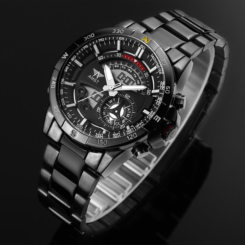e8b2ba86cda AMST Digital Sports Relógios de Marca de Luxo homens Militar Quartz Hour  LCD Relógio Masculino Aço Completa Relógio de Pulso Relogio masculino em  Relógios ...