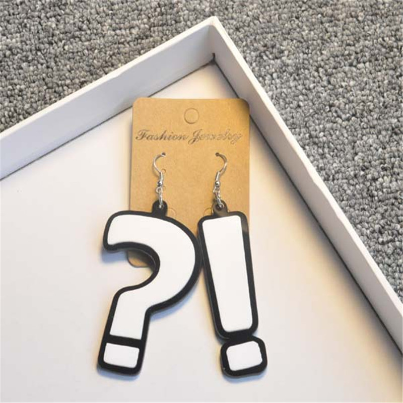 ORP Acrylic Bar stage performance earring question mark exclamation point earrings DS stage performance essential jewelry