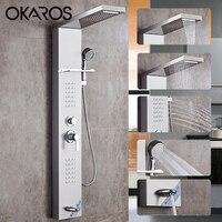 OKAROS водопад, тропический душ смесители Никель Матовый душ Панель с ручным душем Ванная комната Sheft Ванна Носик башня Душ столбца