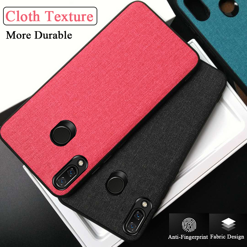 Cloth Texture Note7 Case For <font><b>Xiaomi</b></font> Redmi <font><b>Note</b></font> <font><b>7</b></font> Pro Note7pro Luxury Fabric Protective Cover Soft Silicon TPU Phone Coque Fundas image