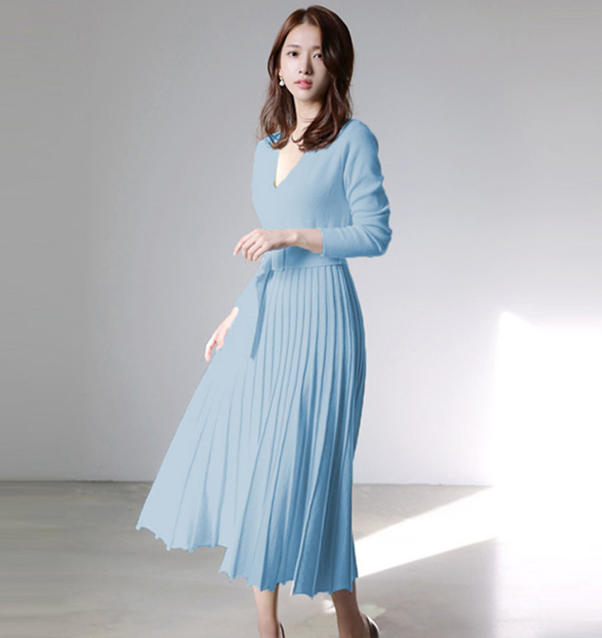 HAMALIEL New Fashion Women Knitted Pleated Dress Fall Winter Long Sleeve Thick Sweater Dress Casual Sexy V Neck Sashes Dress 44