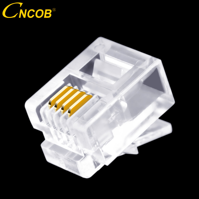 CNCOB 100pcs Cat3 RJ11 6P4C Modular Plugs 4-Wire Phone Cable Connector, Crystal Head, Voice Phone Connector 4-Piece Copper Chip