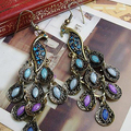 1 Pair Women Vintage Bohemian Style Peacock Drop Hook Earrings Jewelry