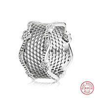 Authentic 925 Sterling Silver Pandora Ring Lace Of Love Rings With Crystal For Women Wedding Party Gift Fine Jewelry