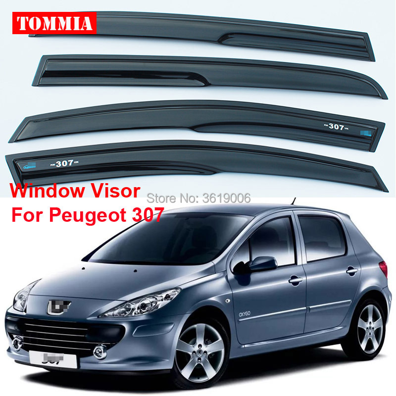 tommia For Peugeot 307 4pcs Window Visor Shade Vent Wind Rain Deflector Guards Cover майка modis modis mo044ewblnz3