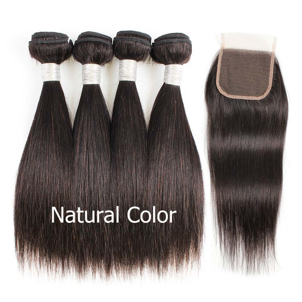 HTB1DDU8O4TpK1RjSZFMq6zG VXa1 Bobbi Collection 4/6 Bundle with Closure 50g/pc Brazilian Ombre Honey Blonde Hair with Lace Closure Straight Remy Human Hair
