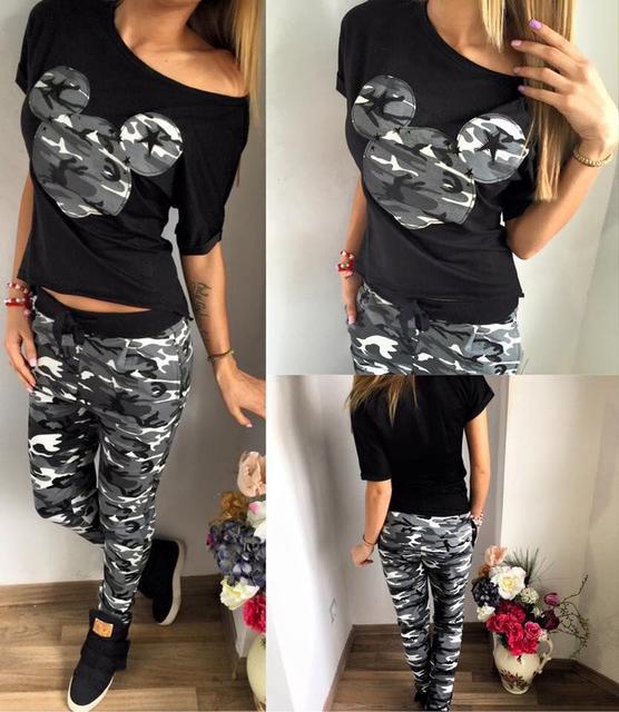 Juego de las mujeres 2 de Dos Piezas de Chándal Negro T Camisa y Pantalones Set Trajes De Moda Sudor Traje Femenino