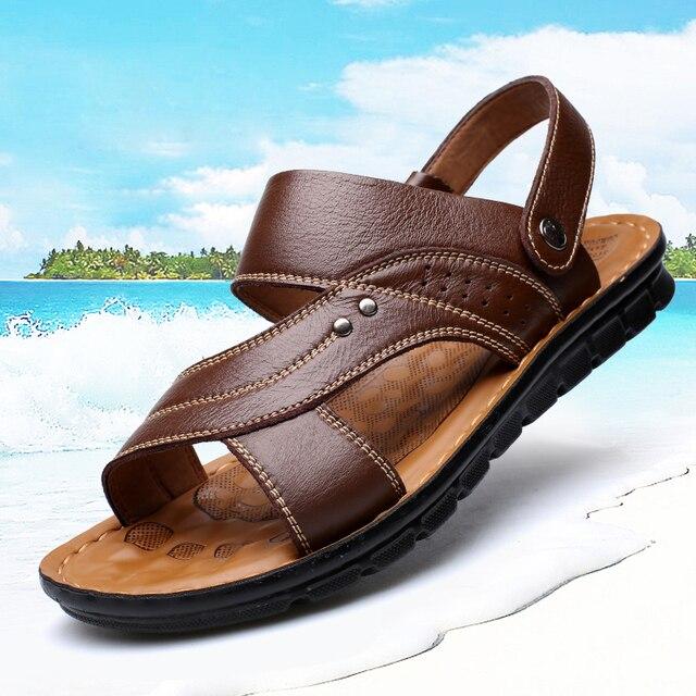ffdb2f6bb9ee13 Hot Koop 2019 Zomer Lederen Sandalen Merk Kwaliteit Goedkope Strand Mannen Sandalen  Slippers Mannen Casual Sandalen