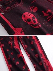Image 4 - Sokotoo Mannen Schedel Gedrukt Rode Denim Jeans Plus Size Fashion Slim Fit Patroon Geschilderd Stretch Broek