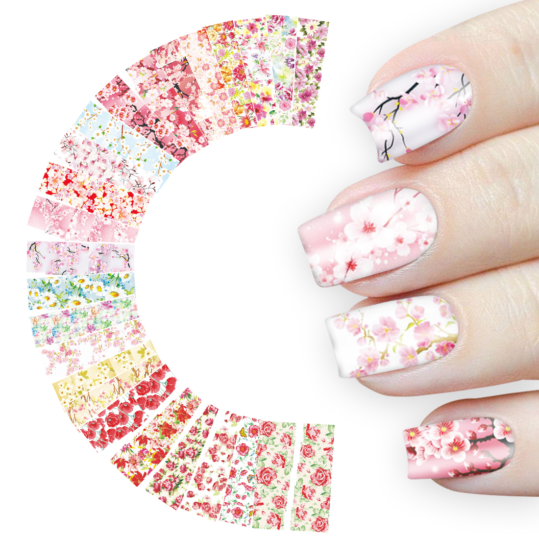 Sakura Nail Art Sticker 24 Sheet Flowers Water Nail Decals Rose Daisy Cherry Blossom Transfer Full Wraps Manicure Decoration 1pcs water nail art transfer nail sticker water decals beauty flowers nail design manicure stickers for nails decorations tools