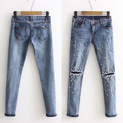 Women Fashion Destroyed Ripped Blue Jeans pearled Slim Denim Pants Boyfriend Jeans 2017 New Woman Trousers 4