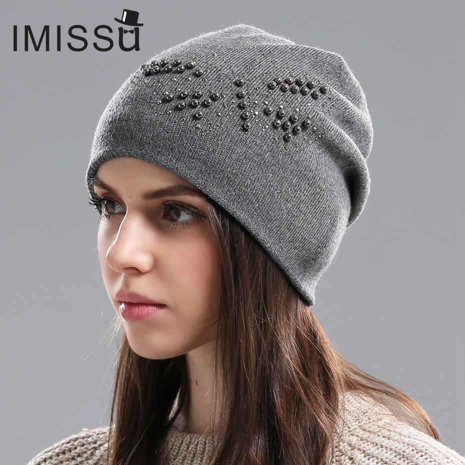 IMISSU Women's Winter Hats Knitted Wool Skullies Casual Hat with Bead Butterfly Solid Colors Ski Gorros Cap Casquette for Women