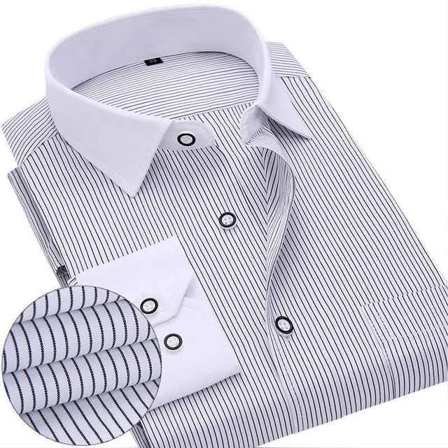 580a2e6ebec4 2018 New Design Fashion Collar Men Business Dress Shirt Long Sleeve Formal Men  Shirts Office Working Shirts Plus Size S-4XL