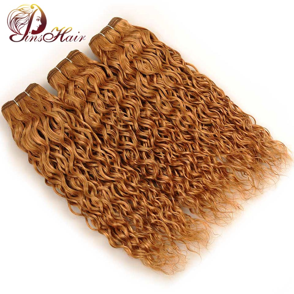 Pinshair Per-Colored Honey Blonde 27 Peruvian Water Wave Hair Weft 3 Bundles 100% Human Hair Weave Extension Non Remy Thick Hair