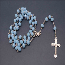 Crystal 8mm fashion rosary ladies necklace diy Jesus Christian cross and pendant long chain jewelry