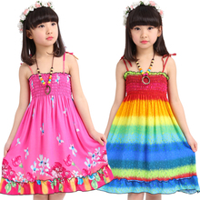 On Sale!!! Girls Dresses 2016 Girls Summer Seaside Holiday Camisole Dress Clothes Casual Cotton Girl Dress Stripe Beach Dresses