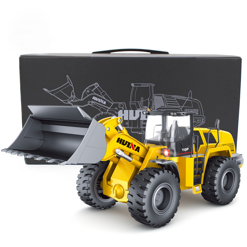 Huina 583 1583 10 Channel Full Functional Remote Control Front Loader Construction Tractor, Full Metal Bulldozer Toy 1:14 Scale