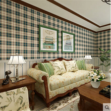 3D papel de parede Scottish tartan vintage American country imported pure paper wallpaper bedroom living room dining background