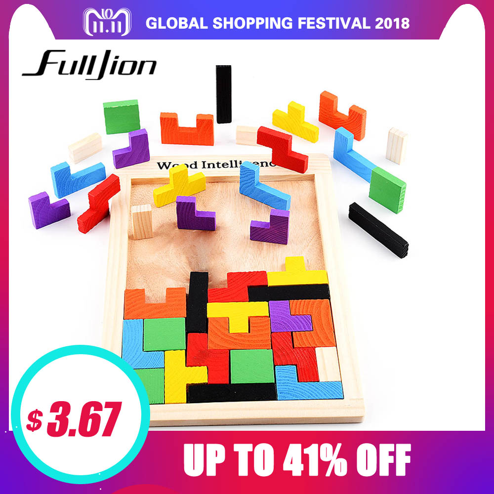 цена на Fulljion Puzzle Games Math Toys For Children Model Wooden Learning Education Montessori 3D Puzzle Jigsaw Teaser Children Cubes